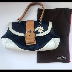 Vintage COACH Daisy Natural Twill Top Blue Bag